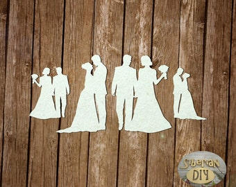 """Laser Cut Chipboard The set of """"the bride's Bouquet. The couple"""""""