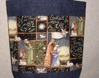 New Medium Handmade Christmas Nativity Religious Holiday Denim Tote Bag Purse