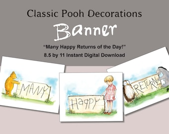Classic Winnie the Pooh Banner Digital Download