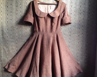 peter pan collar autumnal linen dress- brown