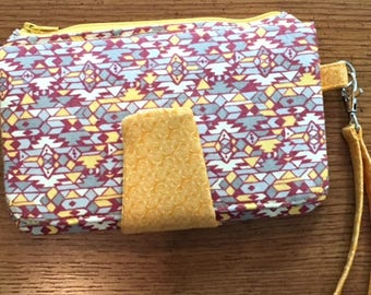 Yellow and Gray Aztec Style Print Clutch Wallet
