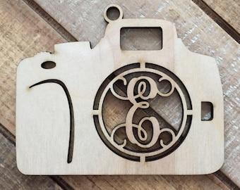 Monogram Camera Christmas Ornament - Personalized Camera Ornament - Photographer Ornament - Personalized Gift for Photographer