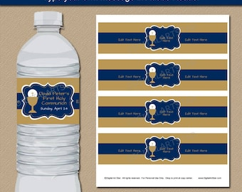 Boy Communion Favors, Boy First Communion Party Ideas, Navy and Gold Water Bottle Labels, Printable Labels, Editable Communinon Labels