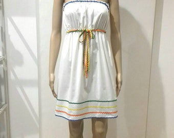 Cotton mini dress soft stretched white and blue serpentine motif orange orange yellow new for summer from sea and beach