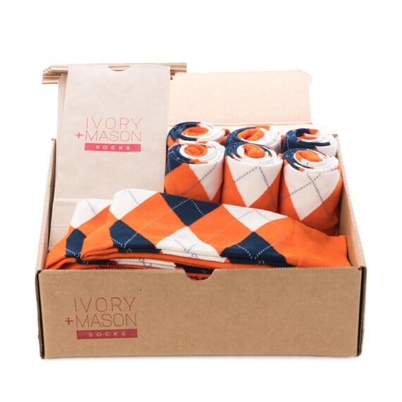Groomsmen Socks Kit - Grey Orange Striped - Premium Cotton - 8 Pairs YnCTrMK