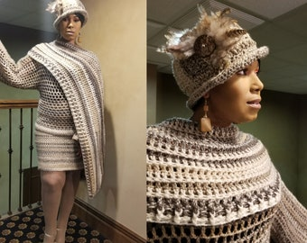Crochet Cream / Grey Blend Skirt Set - Coverup  - Straight skirt with Matching Cape and Hat