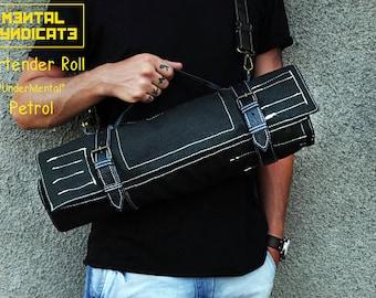 Bartender Bag, Travel Tool Bag, Craft Tool Roll, Wrap Bag, Bar Tools, Roll Bag, Black Leather Roll, Barman Gift, Camping Roll, Husband Gift