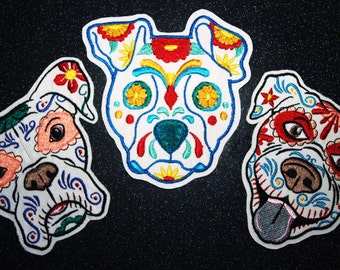 Day of the Dead Calavera Dog Sugar Skull  Mexican Dia de los muertos iron on/sew on  embroidered patch