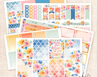 Sunset Garden - Planner sticker Kit, 5 pages / for the Erin Condren Vertical, Horizontal, Happy Planner