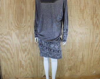 Vintage 1980's DAMIANOU Greek Mythology Black Chromspun Drop Waist Batwing Dolman Asymmetrical Holiday Dress Medium Large M / L