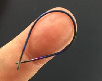 TITANIUM  Hoop EARRINGS. Titanium Wire Earrings. Small Titanium. Hypoallergenic Earrings. Teardrop Earring. Sensitive Ears No.00E224