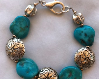 Large Kingman Turquoise Nugget Bracelet with Silver Beads