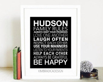 Personalized Family Rules, Digital Print