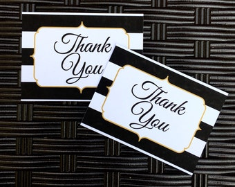 Set of black white and gold Thank You Cards
