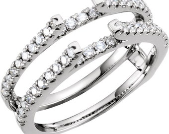 14K White Gold 1/2 CTW Diamond Ring Guard Enhancer CKL651356