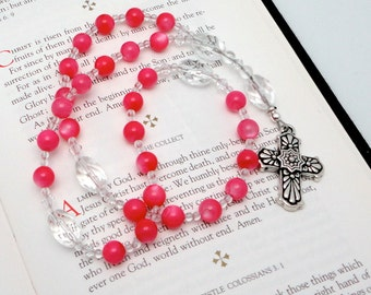 Anglican Rosary / Protestant Prayer Beads / Anglican Prayer Beads in Pink Mother of Pearl with TierraCast Pewter Talavera Cross