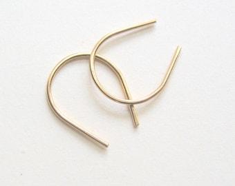 Tiny gold sleeper earrings Small arc earrings Gold-filled horseshoe earrings