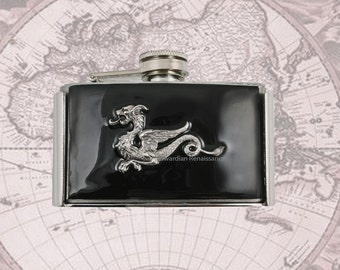 Dragon Flask Belt Buckle Inlaid in Hand Painted Black Glossy Enamel Game of Thrones Inspired 3 oz. Flask Personalized and Color Options