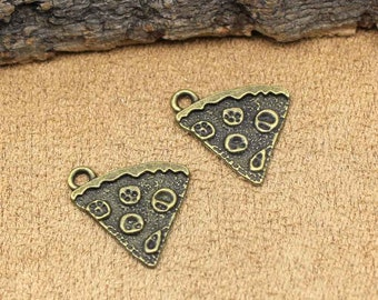 25pcs Antique Bronze Pizza Charms Pendant 20x19mm C2137-T