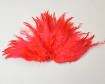 Rooster Saddle Feathers - Ruby Red, 2 inch strip (50-60pcs)