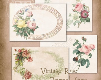 Vintage Roses Journal Spots Tags Instant Digital Download