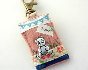 panda bag charm, panda birthday gift, hand sewn panda gifts, panda handbag charm, love pandas, panda gifts for girls, elliestreasures, UK