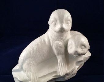 White Seal Pup Twins Figurine