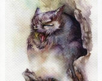 """PRINT – Sleepy Watercolor painting 7.5 x 11"""""""