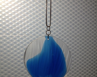 Ripple texture pendant in water clear and blue