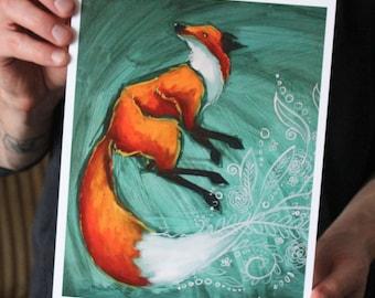 Fox with Foliage; Fine Art Print