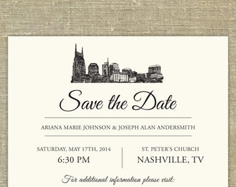 Nashville Skyline Save the Date; Tennessee city skyline; Nashville wedding; SAMPLE ONLY