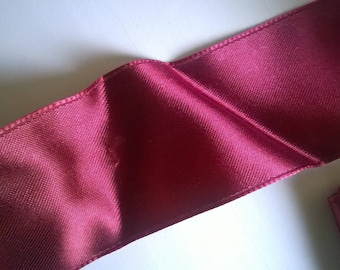 (9) dark red, wide satin ribbon