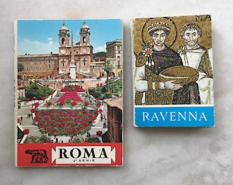 Vintage Souvenir Postcards / Accordian Books from Rome and Ravenna Italy / 1970s Italian Postcards