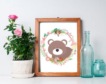 Bear Nursery Art - 8x10 Woodland Nursery, Bear Nursery Decor, Nursery Animal Art, Woodland Animals