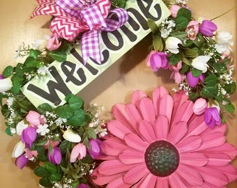 Spring Tulips & Metal Flower Handpainted Welcome Sign Grapevine Wreath