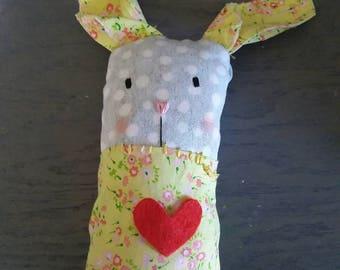 Upcycled stuffed bunny rabbit EASTER NURSERY decor