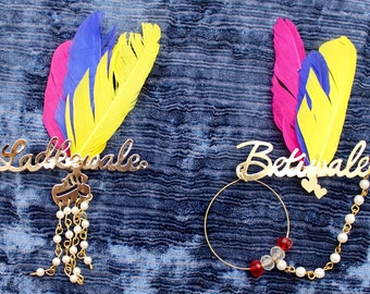 10 x Indian Wedding Brooches choose from - Groomside Ladkewale or Brides-side Betiwale Feather Safety Pins