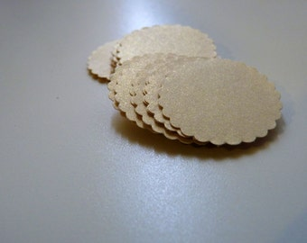 Round stickers envelope seals party packaging pearlised creamy glitter gold circles with scalloped edges