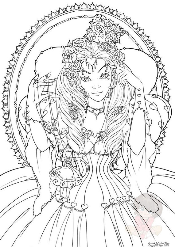 The Red Queen Februarys Digital Coloring Page