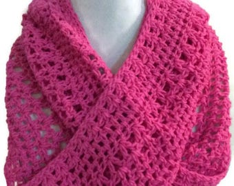 Pink Crochet Infinity Scarf, Eco Friendly Cotton Scarf, Hot Pink Scarf, Crochet Scarf, Pink Scarf, Lacy Scarf, Eco friendly gift