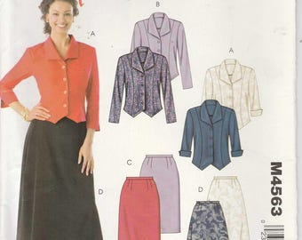 Skirt Pattern Jacket Semi-fitted Unlined Princess Seams Misses Size 100 - 12 - 14 - 16  Uncut Stitch n Save 4563 McCalls