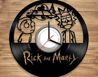 Rick and Morty Vinyl Wall Clock Sanchez Smith Adult Animated Science Perfect Decorate Home Style UNIQUE GIFT idea for Him Her (12 inches)