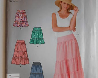 Summer Ruffle Tiered Skirt Sewing Pattern Simplicity 4549 Size 6 8 10 12 14 16 Waist 23 24 25 26 1/2 28 30 UNCUT