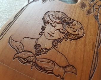HTC M8 Wood Phone Case | LADY | Sacred Geometric Custom Design Natural wood