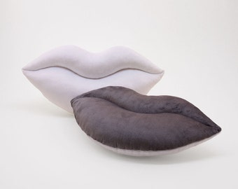 White and Silver Team Spirit Smooch Lips Shaped Pillow 17 x 9 inches