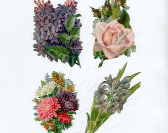 4 Bunches of Flowers Instant Printable Digital Download from Actual Victorian Scrap JPG PNG Altered Art
