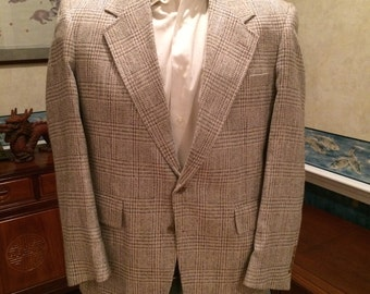 Gray Plaid Blazer - 1970s - Mens - Medium 40R - Evan Picone - Burdines Florida - Classy Country Club Look
