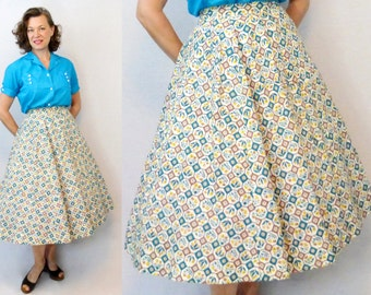1940s Skirt / 40s Skirt / Feedsack Skirt / Feed Sack Skirt / Novelty Print Skirt / 50s Skirt / 1950s Skirt / Full Skirt / Circle Skirt / W26