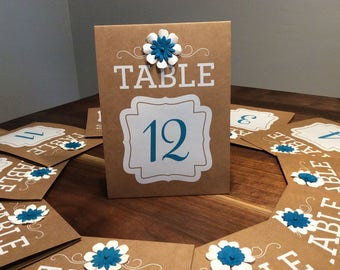 Double Sided Rustic Table Numbers,Wedding Guest Table Number,Rustic Wedding Decor,Table Numbers,Decorated Table Numbers,Blue Table Numbers