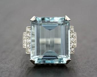 Vintage Aquamarine Ring - 1950s Aquamarine & Diamond Cocktail Ring - Art Deco Aquamarine Statement Ring